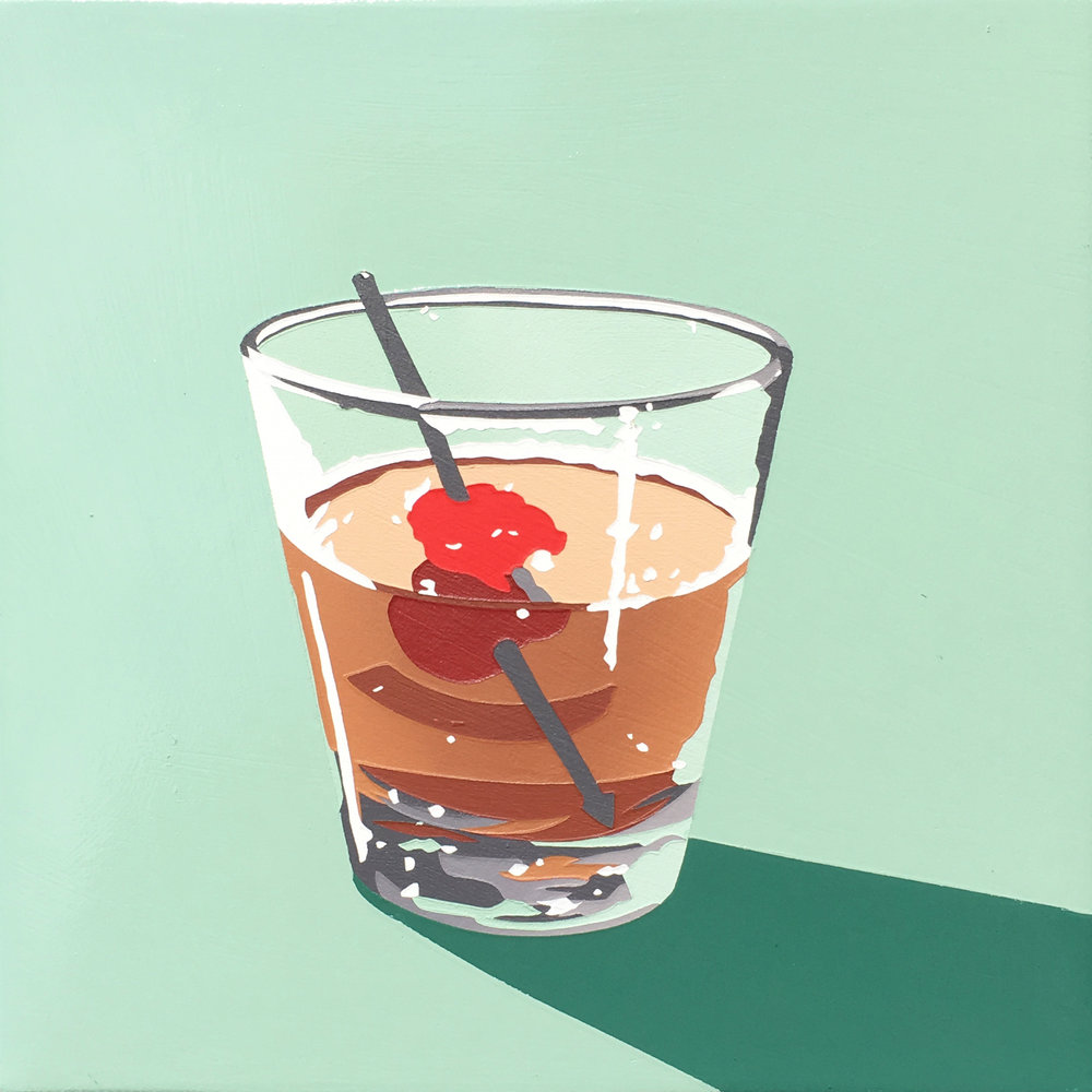 Lori Larusso,  Bourbon Cocktail   (Manhattan 1) ,   2016, acrylic and enamel on panel, 8 x 8 inches, available