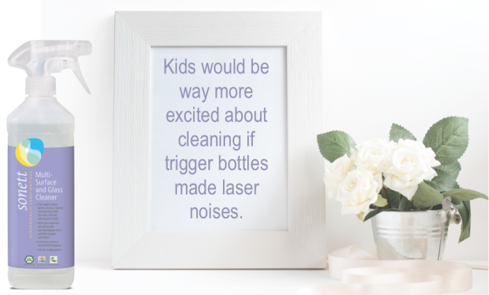 Multi-Surface and Glass Cleaner  with organic Lavender and Lemongrass. Spreading good vibes around your home.