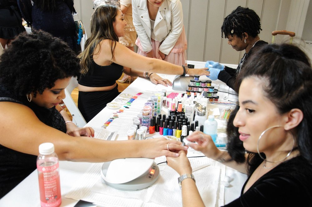 The beautiful and talented Vanessa working on my fresh gel mani!