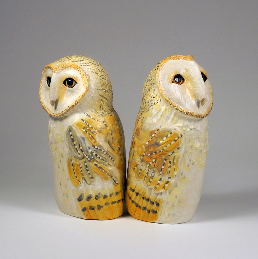 "Barn Owls, 12""x6""x6"" each"