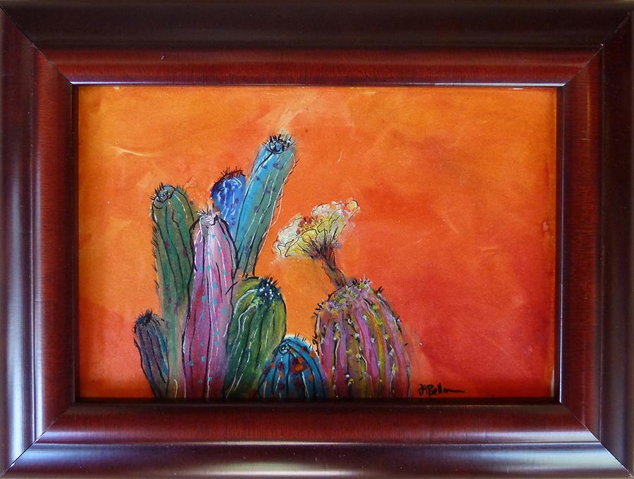 """Barrel Cactus Garden, mixed media, 4""""x6"""""""