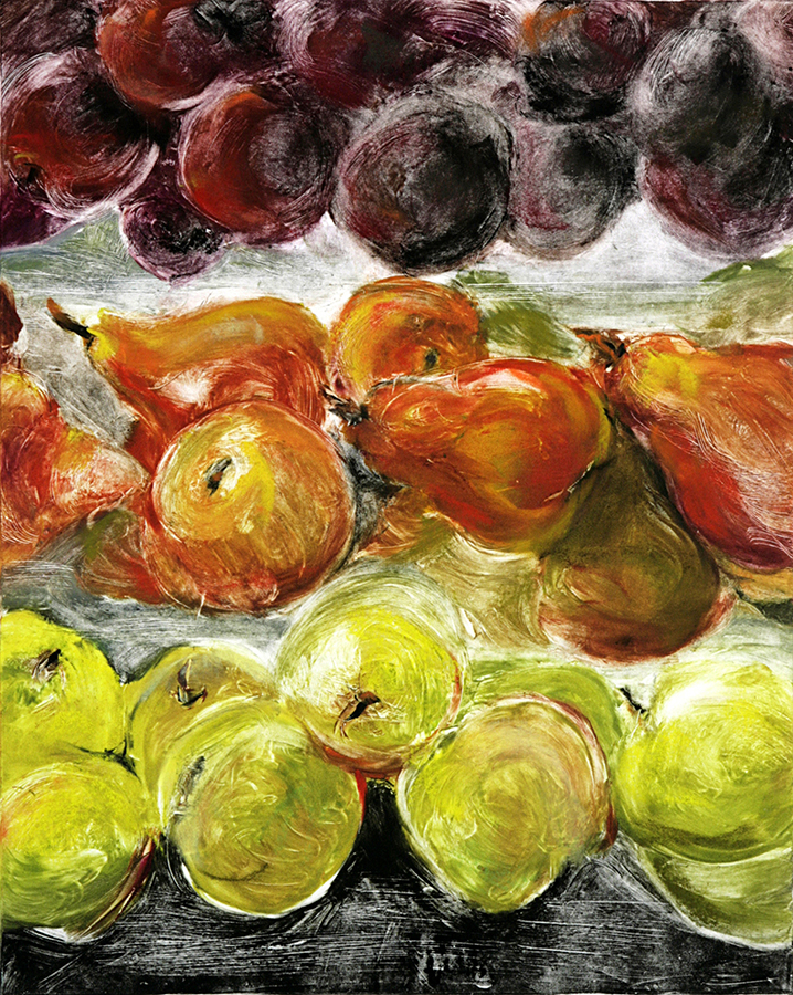 "Plums, Pears, Apples, monotype, 14""x11"""