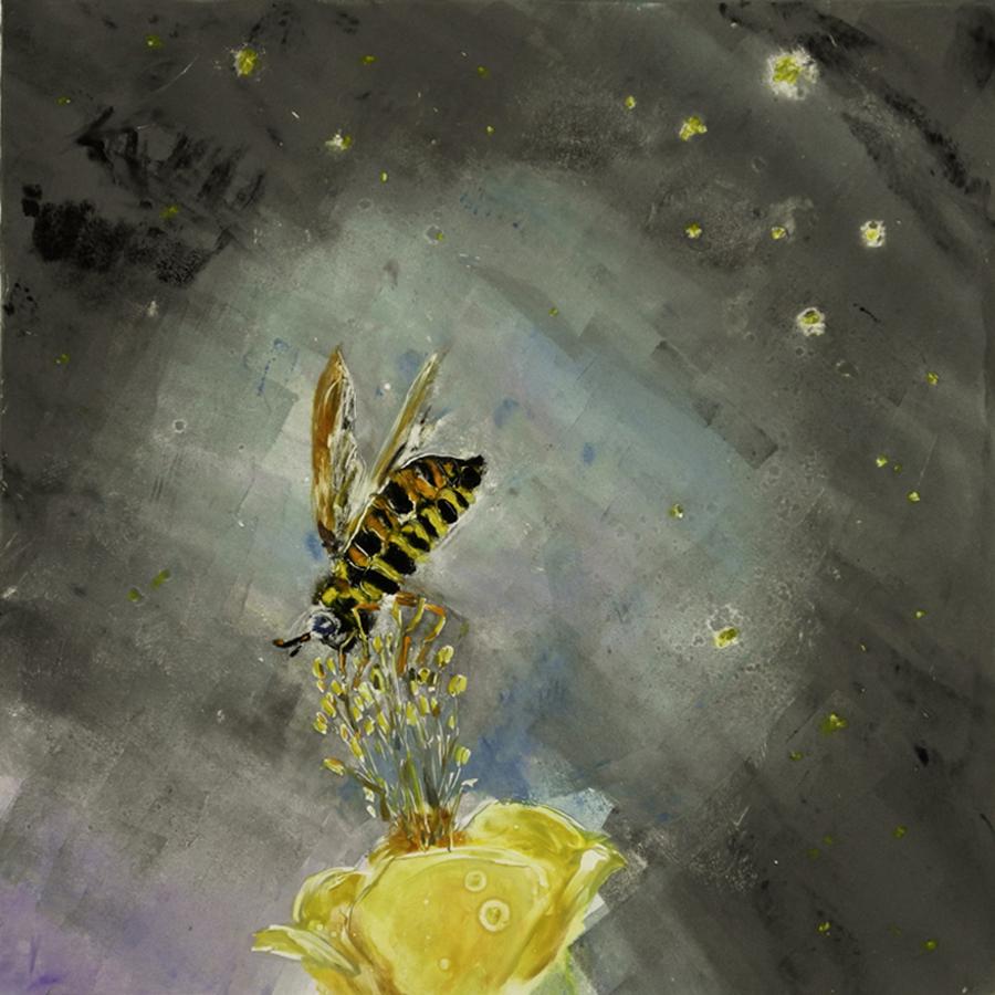 """Pollinator, monotype, 12""""x12"""""""