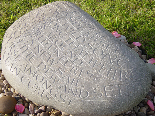 """""""It is perfect: modest, gentle and enduring, like our memories of Nicholas.""""  Libby Purves, client and patron of the Lettering Arts Trust, of the memorial to her son, Nicholas Heiney, pictured, by John Das Gupta."""