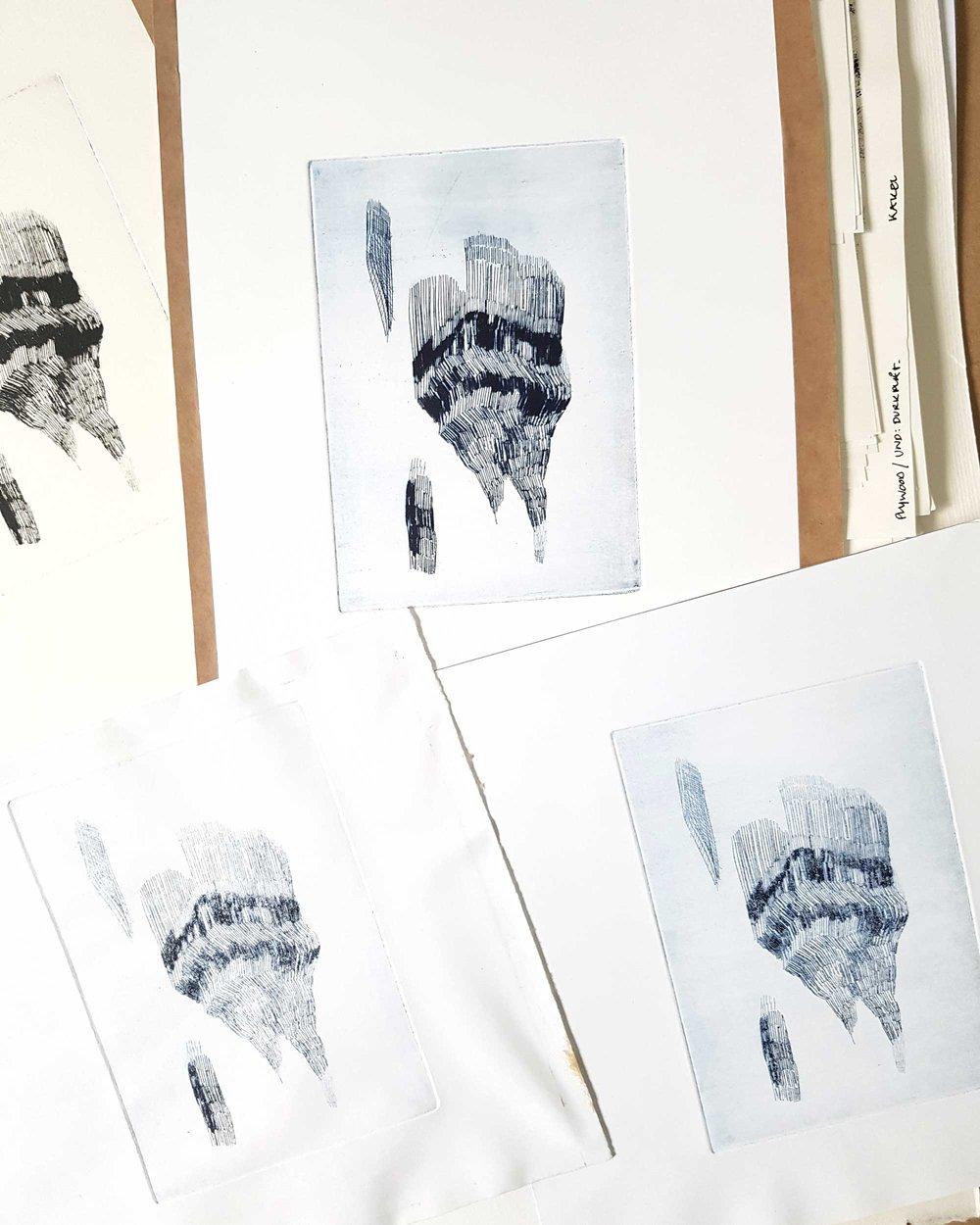 ink, technique: printmaking, metal plate (15x15 cm)
