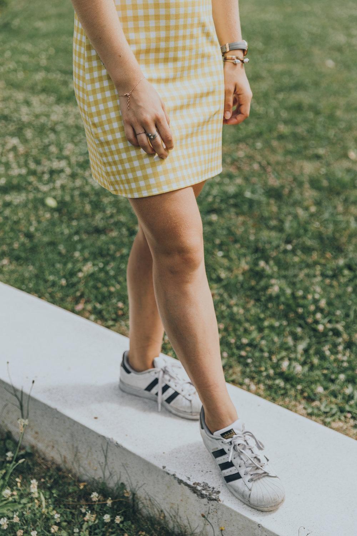 Robe jaune carreaux