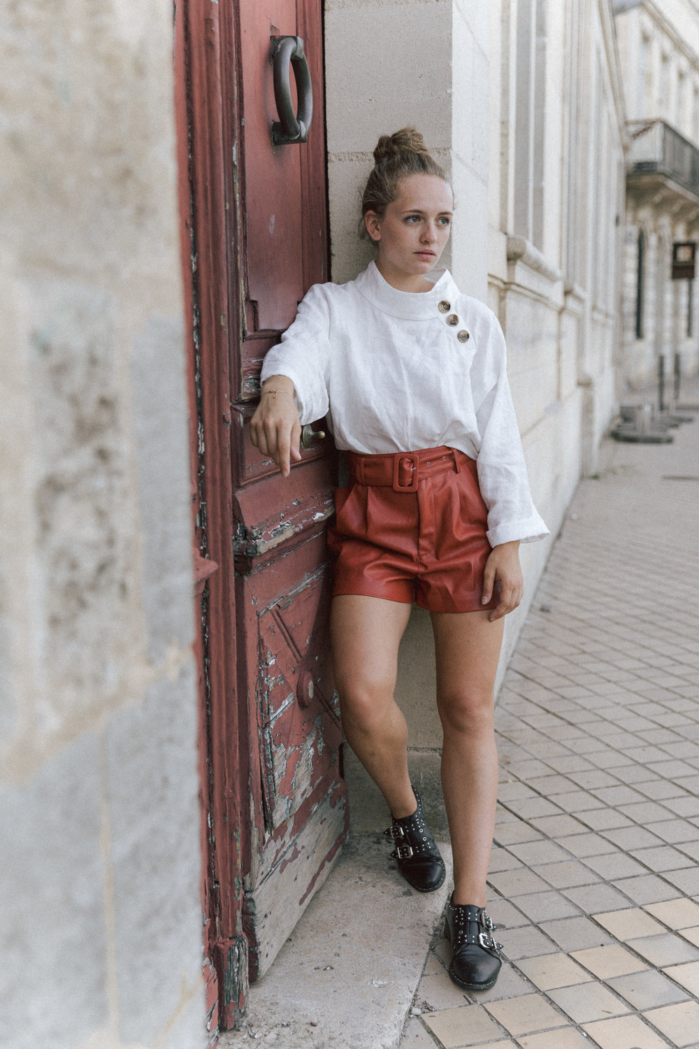Short Terracota blouse en lin