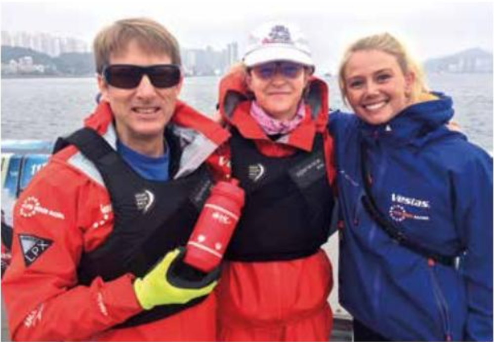 Marcy about to board the M32 with her 11th Hour Racing hosts |  Ahoy