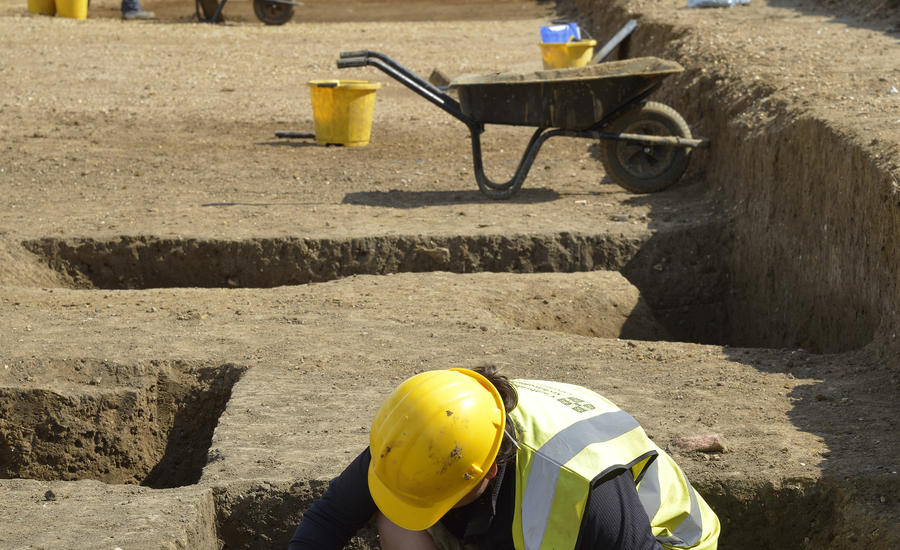 Cambridge Archaeology Unit hard at work, Northstowe archaeology