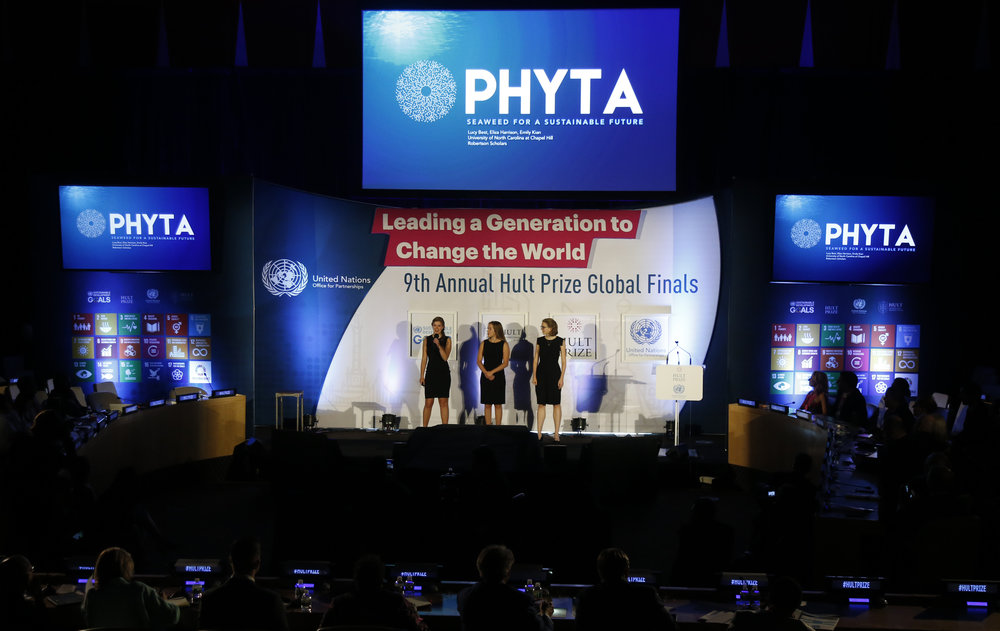 2018 HULT PRIZE GLOBAL FINALS   On September 15th, the Phyta team had the opportunity to present at the United Nations as Global Finalists for the 2018 Hult Prize. Having outcompeted an original 52,000 teams, our team is deeply humbled and grateful to have been invited to present our work on such a well-respected stage. To view our pitch, please click  here .