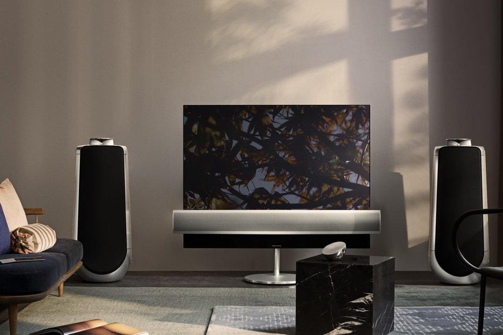 """BeoLab 50 - Der BeoLab 50 ist ein aktiver High-End-Lautsprecher mit einem einzigartigen Design und herausragender Leistung. Dieser Lautsprecher verfügt über revolutionäre technologische Innovationen und bietet damit einen """"ohriginellen"""" und anspruchsvollen Klang. Sein unverwechselbares Erscheinungsbild spiegelt die eingesetzten Technologien wieder und passt gleichzeitig in jede Inneneinrichtung."""