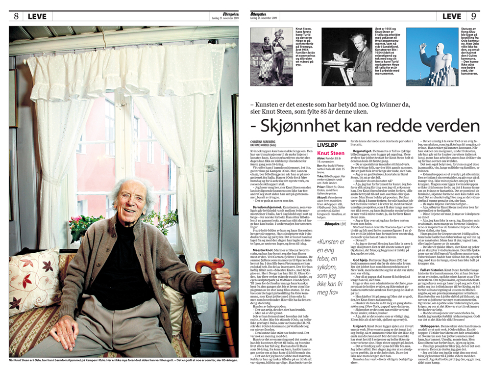 5dbe2cd4 Profile interview with artist Knut Steen, for Aftenposten