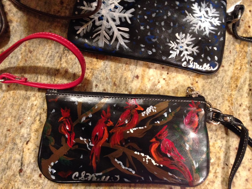 Cardinals and Snowflakes on Wristlets.jpeg