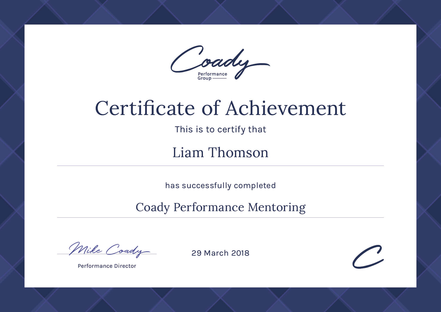Coady Performance Certification