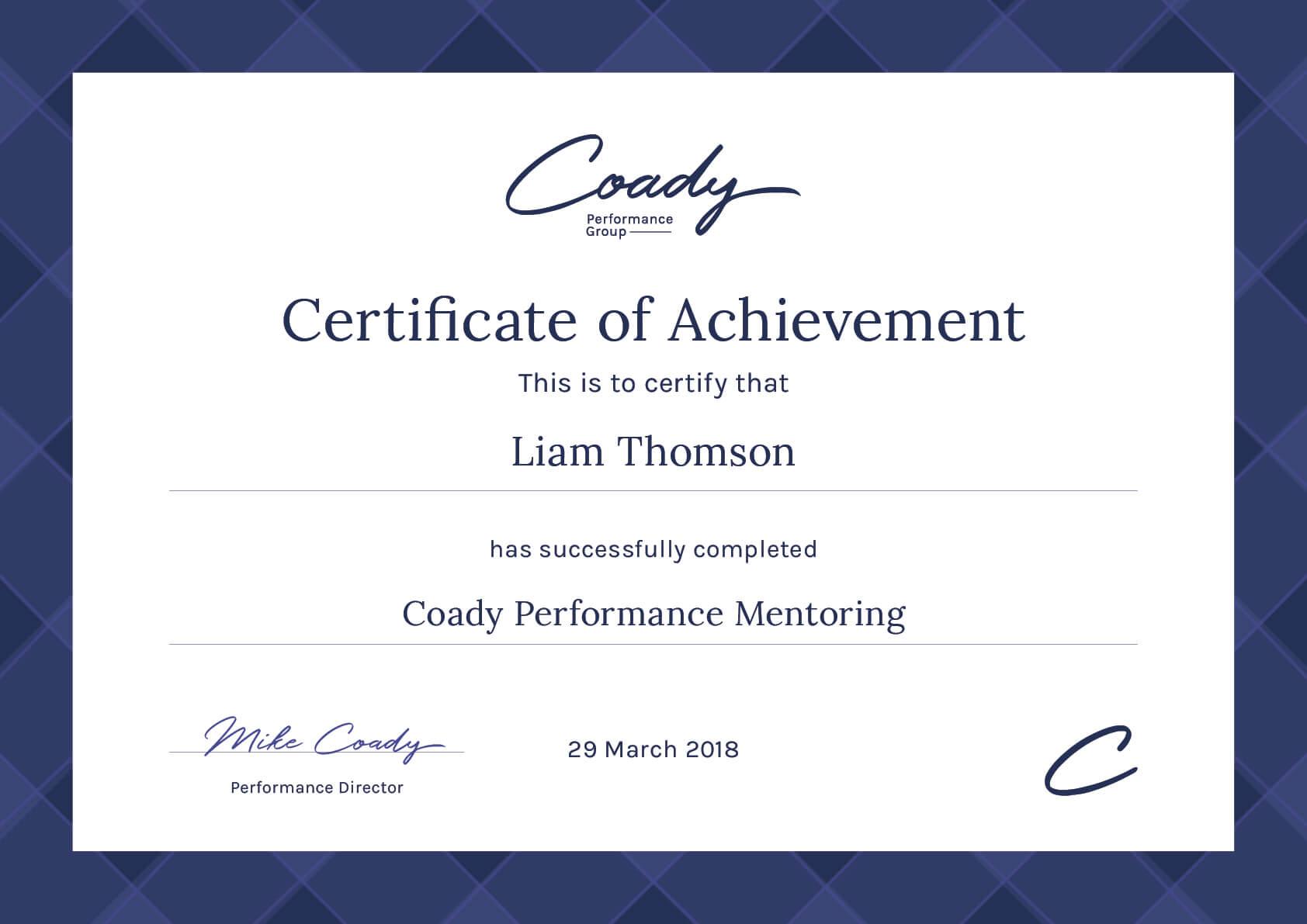 Coady Performance Certification