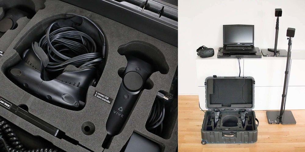 Kit de présentation VR - Nous aidons nos clients à organiser leur présentation en intégrant tout le matériel nécessaire et en les formant sur l'utilisation des applications.Équipement : innoactive VR SUITCASEProjection vidéo | ShowroomVR ) | Formation |