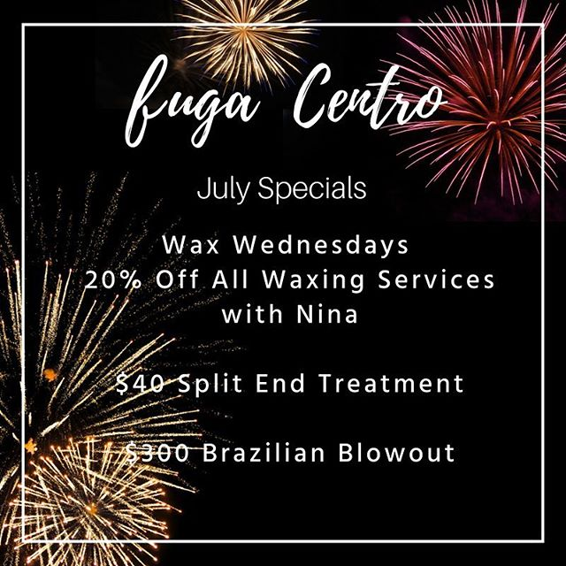 July Specials have arrived!💥Make your appointment today! Link in bio. . . . . . . . . . . . . . . . . . . . . #chicagohairsalons #julyspecials #fugacentro #chicagohair #brazilianblowout #hair #chicagohairstylist #milleniumparkchicago