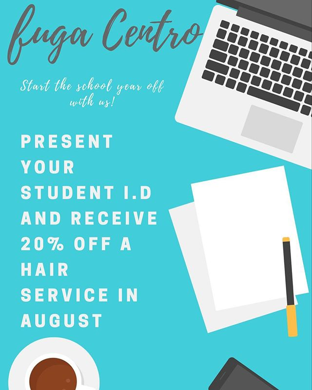 Start the school year off in style @fugacentro Contact us today for 20% off your service! . . . . . . . . . . . . . . . . . . .  #chicagohairstylist #chicagosalon #chicagodiscount #studentdiscount #students #columbiacollegechicago #artinstituteofchicago #instagood #chicagohair #hair #studentid #summercolor #haircolor #love