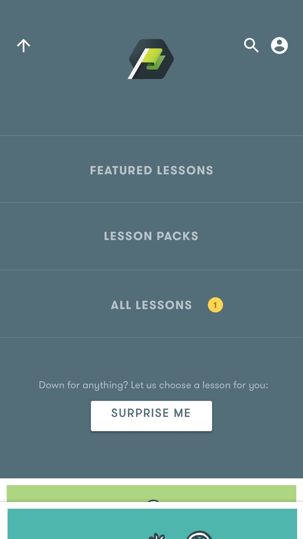 "Because many of the lessons were complex and had long titles, we tested a ""Surprise Me"" Feature that pulls up random lessons."