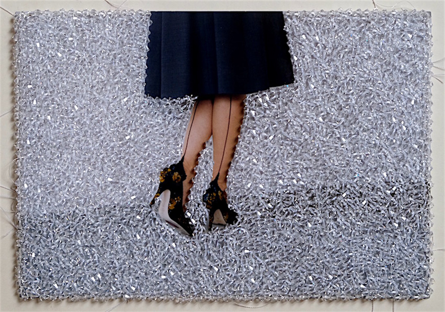 Sissi Farassat, Black Shoes, 2016, C-Print embroidered with Swarovski stones, Unique piece