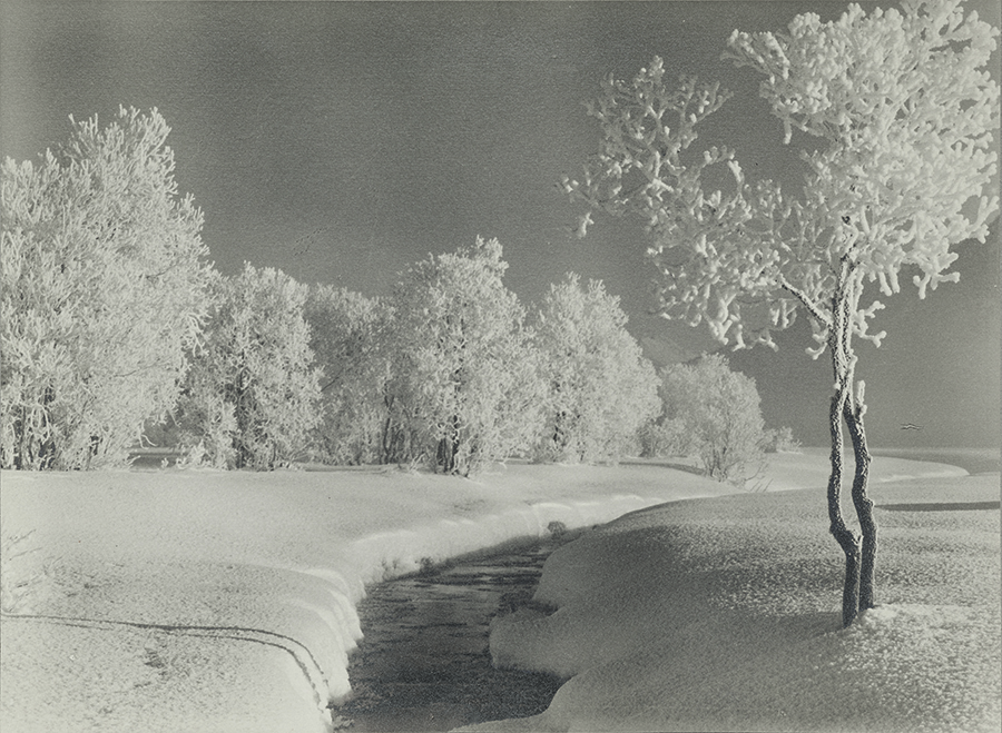 Albert Steiner, Winterlandschaft bei Samedan, Silver Gelatine Print, sehr gut erhaltener Vintage Print (©Bruno Bischofberger, Meilen-Zürich)