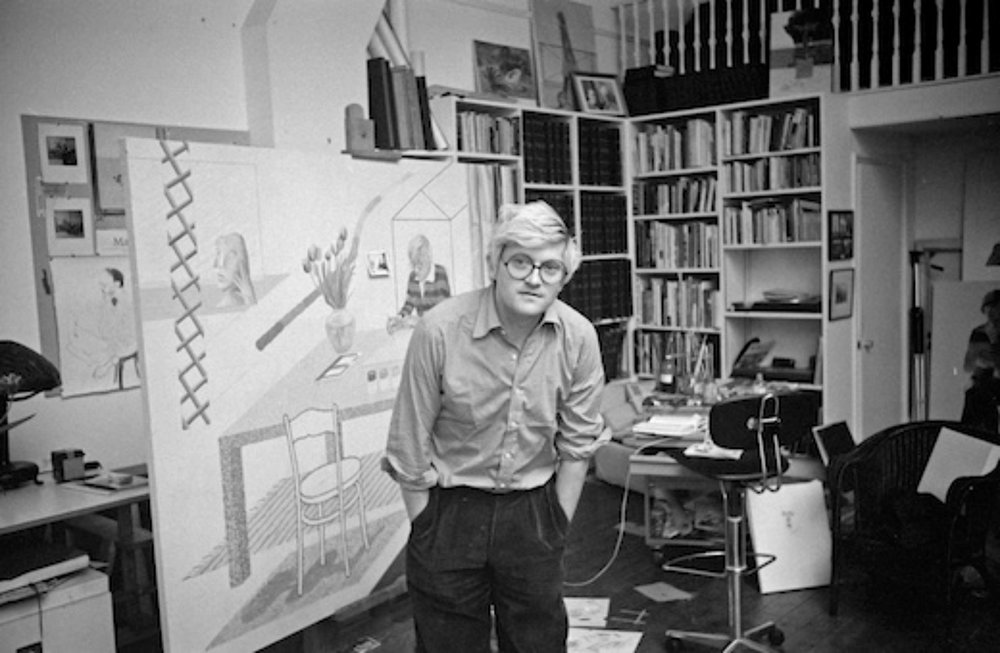 David Hockney in his studio, 1975, London - © edwardquinn.com.