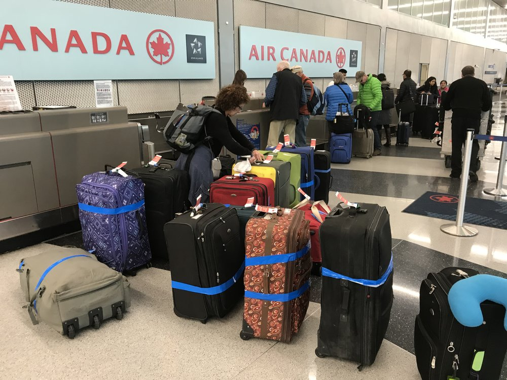 The scene at the AirCanada check-in counter at O'Hare Airport, Chicago.