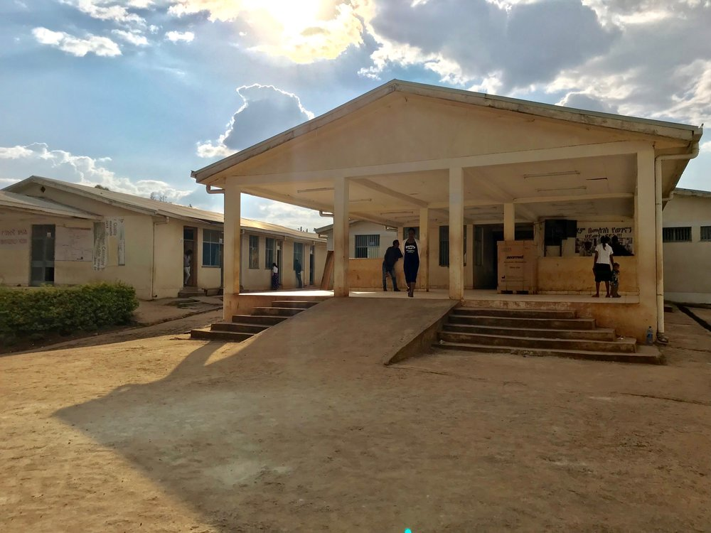 The outside pavilion at the clinic where patients check-in and wait to be seen by a doctor.