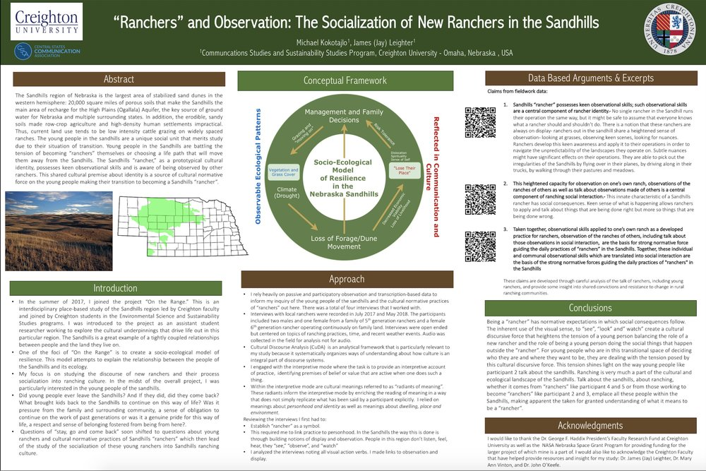 Central States Communication Association, 2019 - Advancements in the socio-ecological model with a focus on this presentation on observation as a key component of rancher practice.