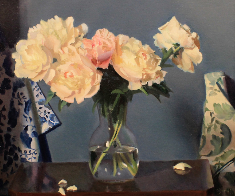 Peonies with Fabric Rolls