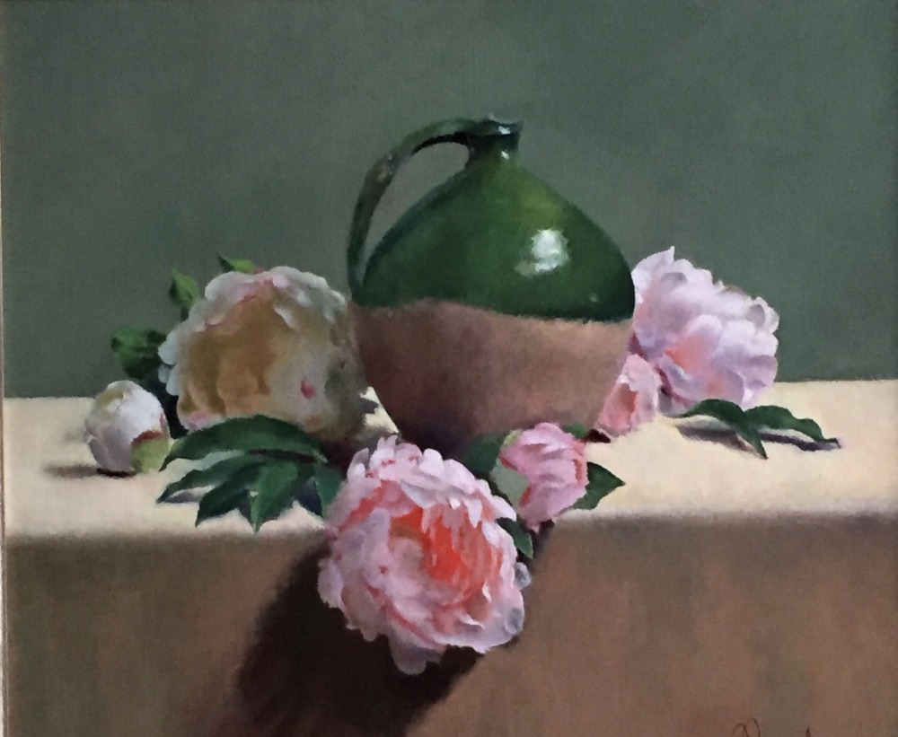 Green Jug with Peonies