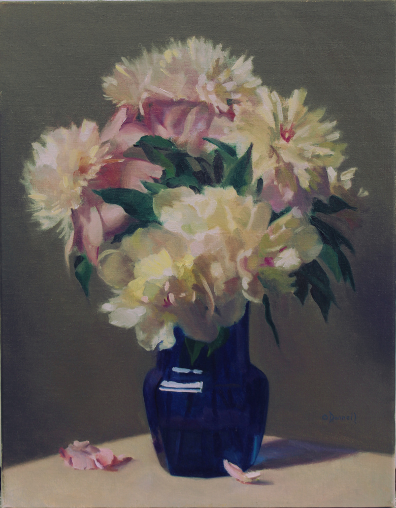 Peonies in Cobalt Glass Vase
