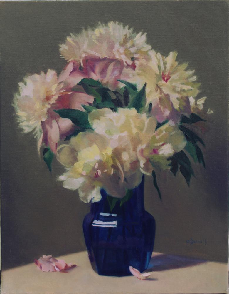 Peonies in Cobalt Glass Vase