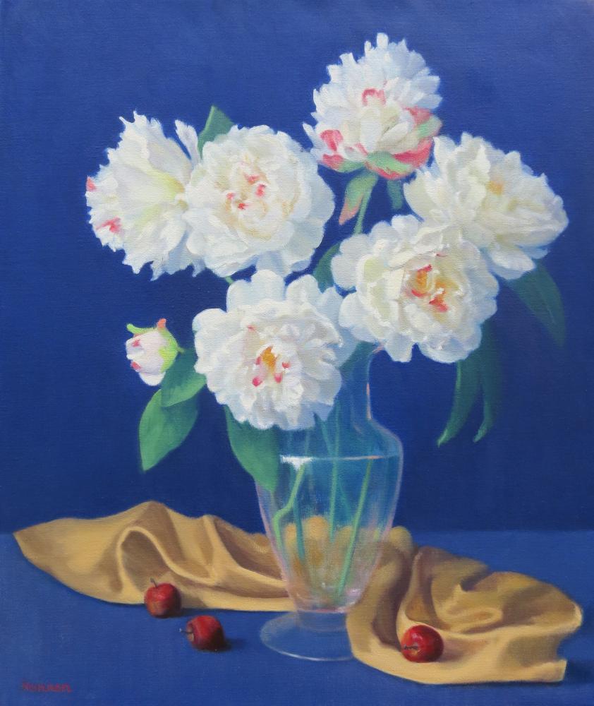 Peonies-White on Blue