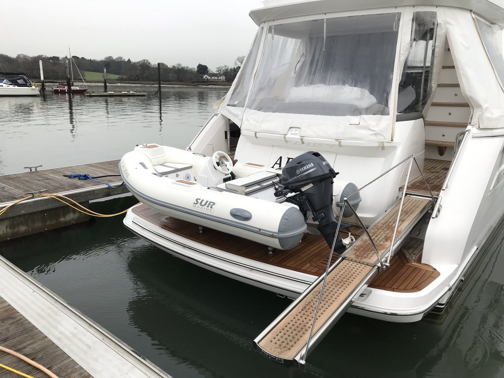 SUR MARINE ST290 Fit up on a 2017 P49 The New customers wanted to have access to the Starboard side of the boat with there passerelle so the ST290 fits well giving them the access needed.