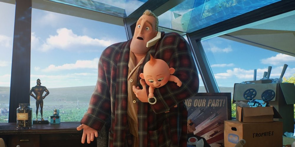 Fig. 3 - Bob Parr juggles stay-at-home fatherhood.