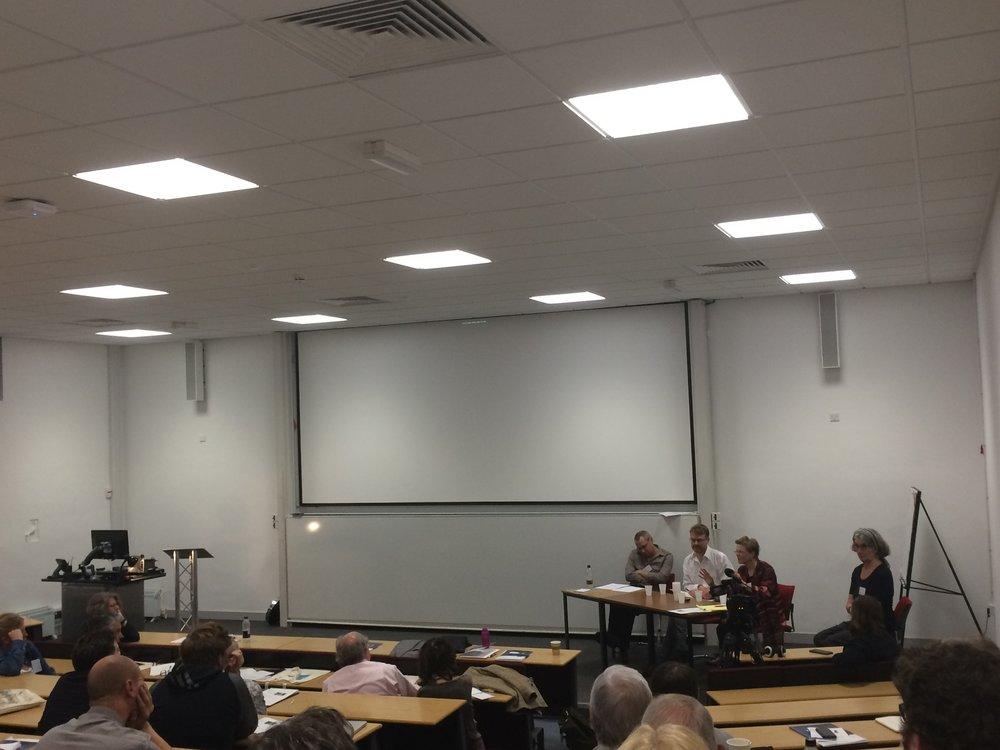 Fig. 2 - (L-R) Andrew Klevan, John Gibbs (University of Reading), Sarah Street (University of Bristol) and Charlotte Brunsdon (University of Warwick) discuss Perkins' method and motivation.