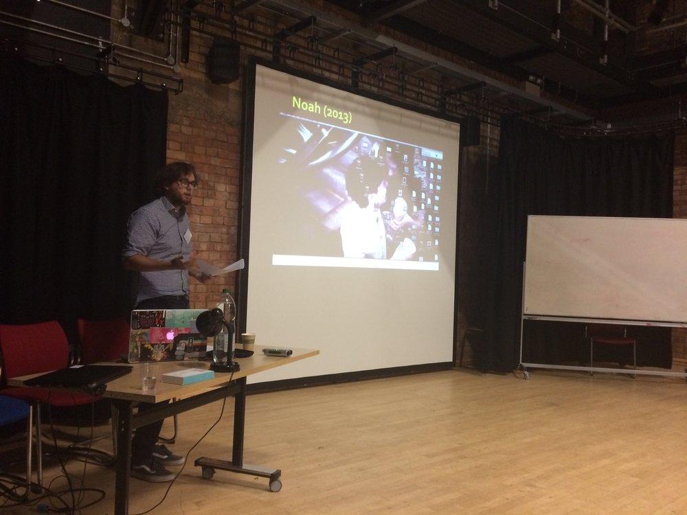 Fig. 4 - Joshua Schulze (University of Warwick) using Perkins as a framework for the contemporary 'desktop film.'