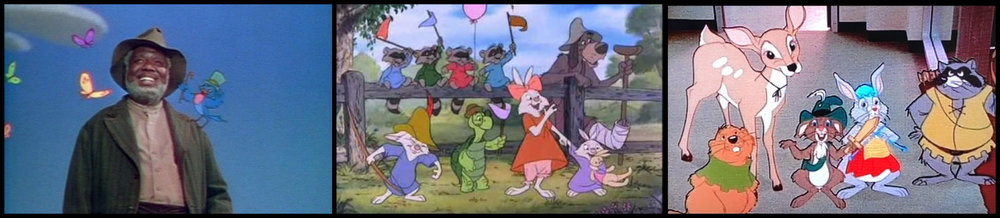 Fig. 1 - (L-R)  Song of the South  (Harve Foster & Wilfred Jackson, 1946),  Robin Hood  (Wolfgang Reitherman, 1973) and  9 to 5  (Colin Higgins, 1980).