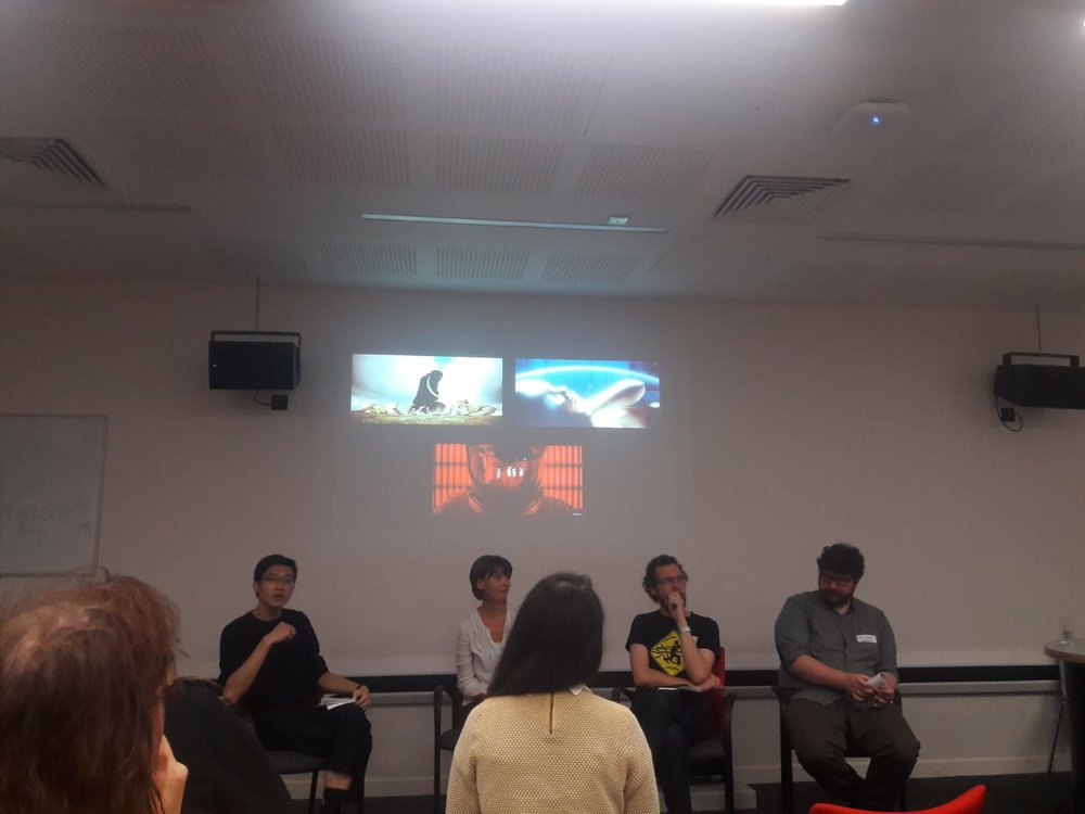 Fig. 2 (L-R) - Hoi Lun Law (Independent Scholar), Carolyn Rickards (University of Bristol), Dominic Lash (University of Bristol) and Matt Denny (University of Warwick).