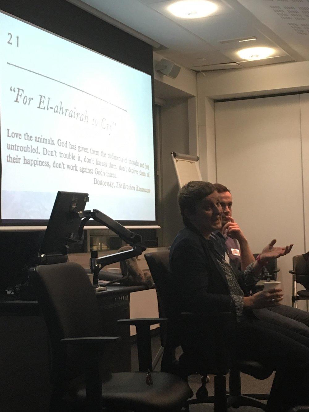 Fig. 9 (seated L-R) Catherine Sadler (University of Hull) and Douglas Leatherland (Durham University).