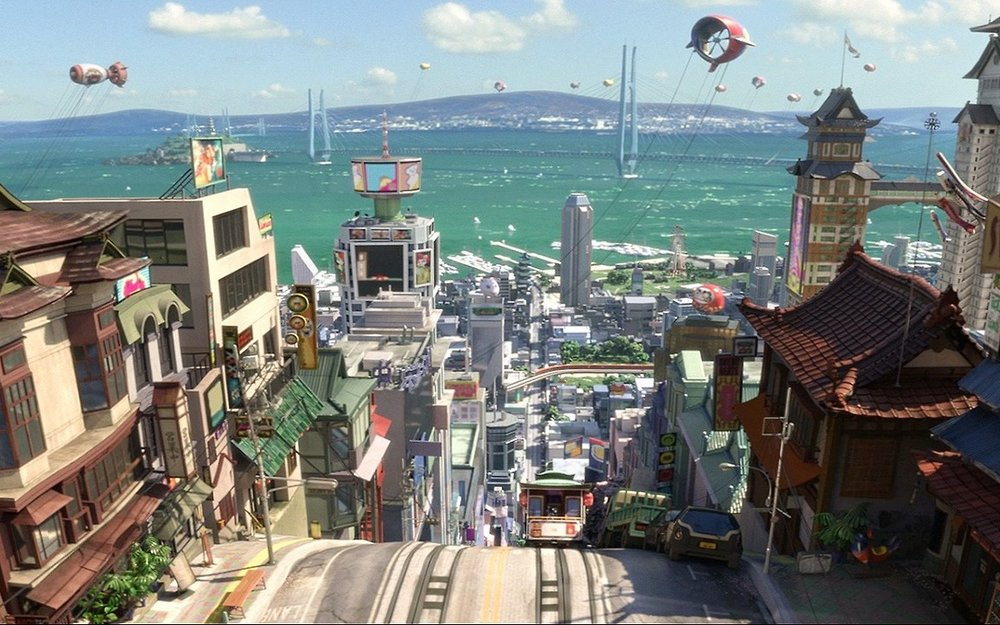 Fig. 1 - In  Big Hero 6 , San Francisco's steep topography and characteristic cable cars sit side-by-side with Japanese architecture.