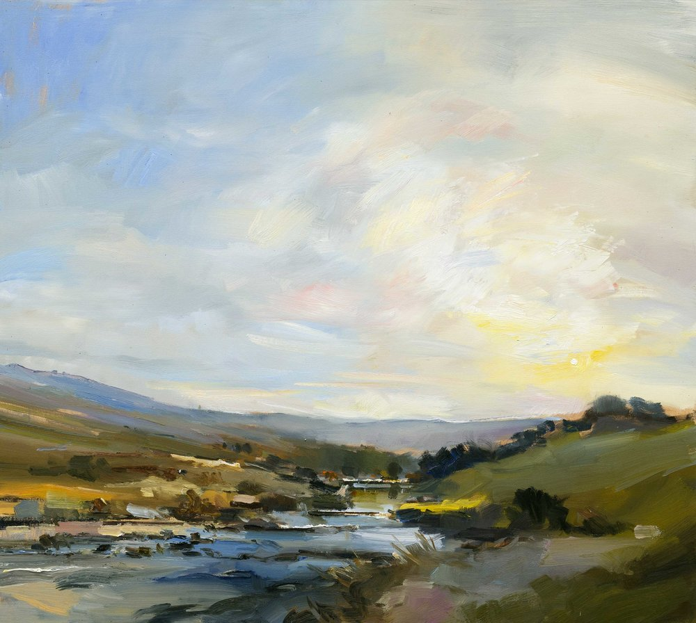 19.By a Stream on  Dartmoor Evening. 90x100 oc copy.jpg