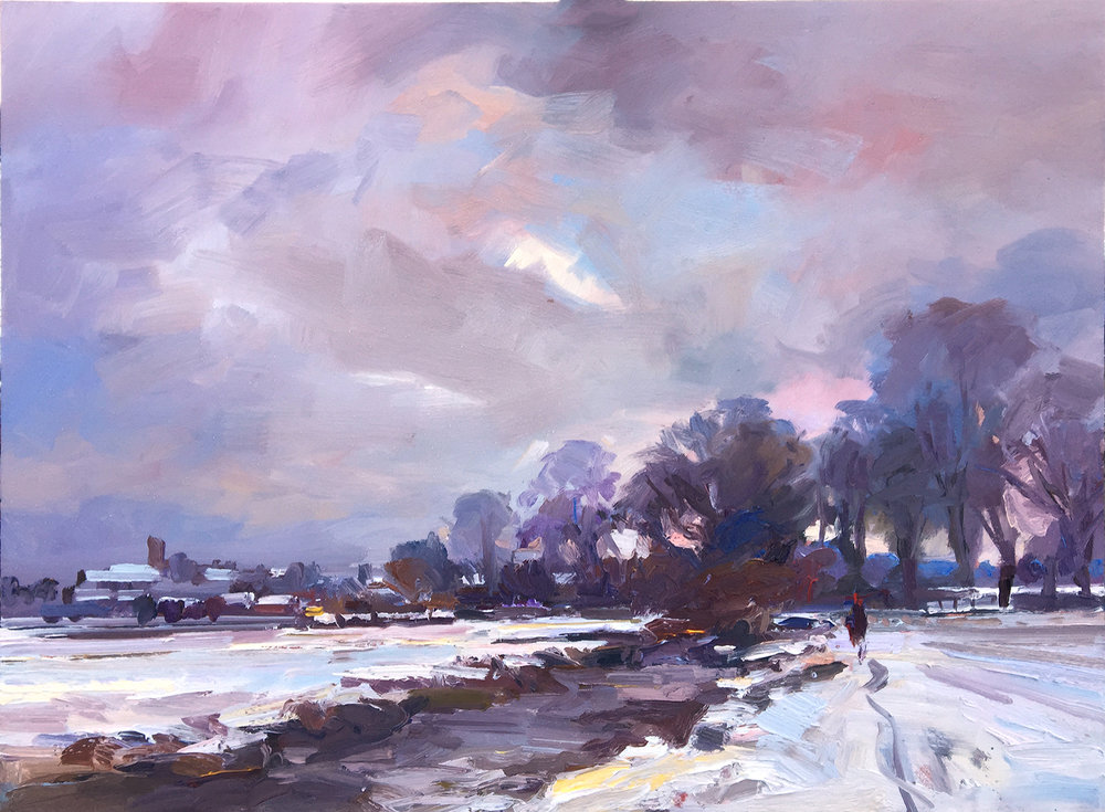 A Winters Day by the River Frome oil on board 61x81cm