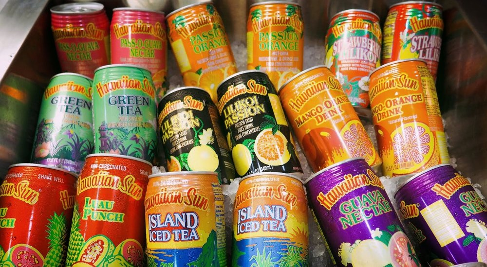 HAWAIIAN SUN   guava nectar, passion orange, pass-o-guava nectar, pineapple orange, green tea lychee, strawberry lilikoi, mango orange, green tea