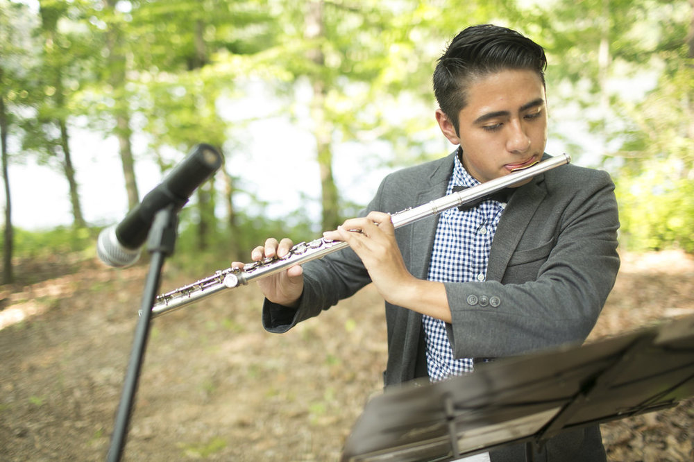The flute through the forest setting was the perfect, delicate, unique musical touch that the ceremony needed. Thanks, Jack, for being so talented!