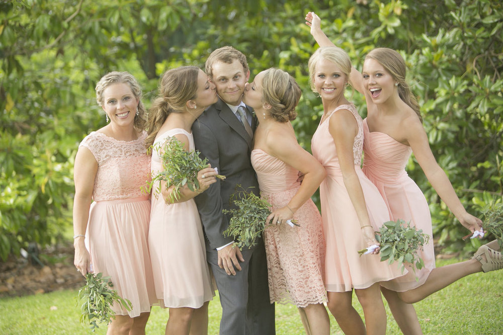When you have five sisters, you learn how to treat a lady. The honorary bridesmaids looked stunning in their mix of styles of peachy blush dresses.