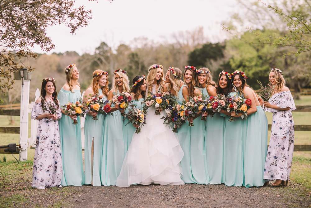 Kelly and her maids, with their organic, bohemian styled flowers, look amazing in their Show Me Your Mumu Dresses! Bride's Dress is from Elle James Bridal.