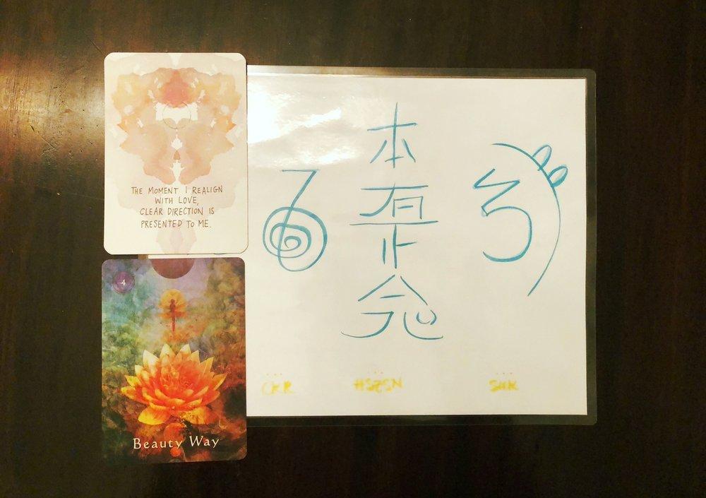 2-card pull + reiki symbols 08.16.2018 class