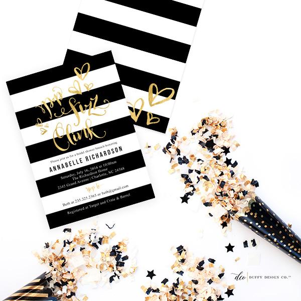 Duffy Design Co Black and White Striped Invitations